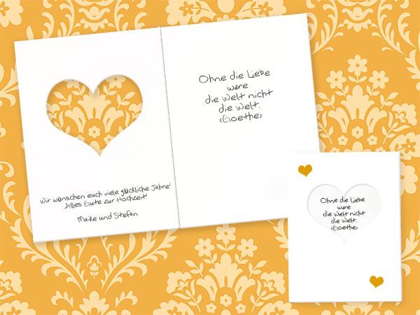 Goethe Zitat auf Hochzeitskarte
