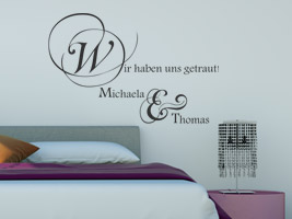 hochzeitsspr che als wandtattoo deko an der hochzeit pictures to pin on pinterest. Black Bedroom Furniture Sets. Home Design Ideas
