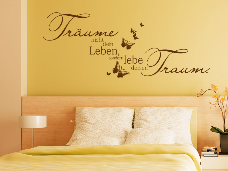 traumhafte wandtattoo spr che f rs schlafzimmer spruch. Black Bedroom Furniture Sets. Home Design Ideas