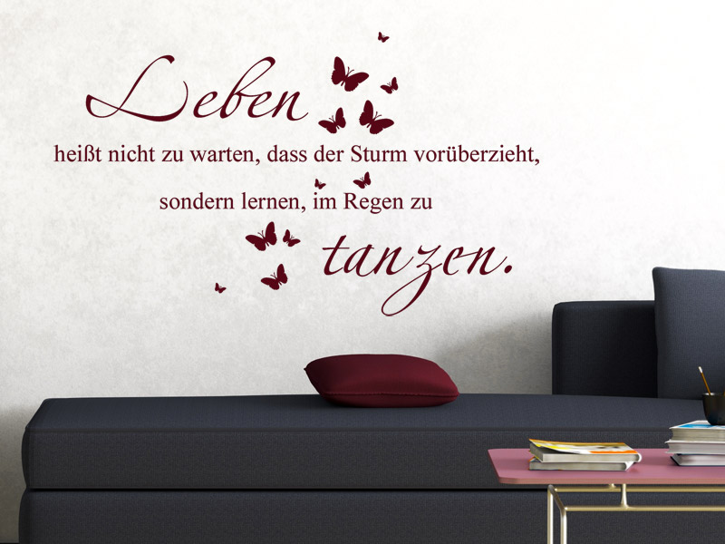 lebensmotto spruch als wandtattoo wandtattoos. Black Bedroom Furniture Sets. Home Design Ideas