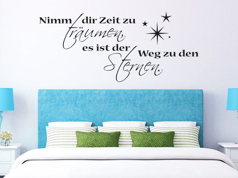 traumhafte wandtattoo spr che f rs schlafzimmer spruch. Black Bedroom Furniture Sets. Home Design Ideas